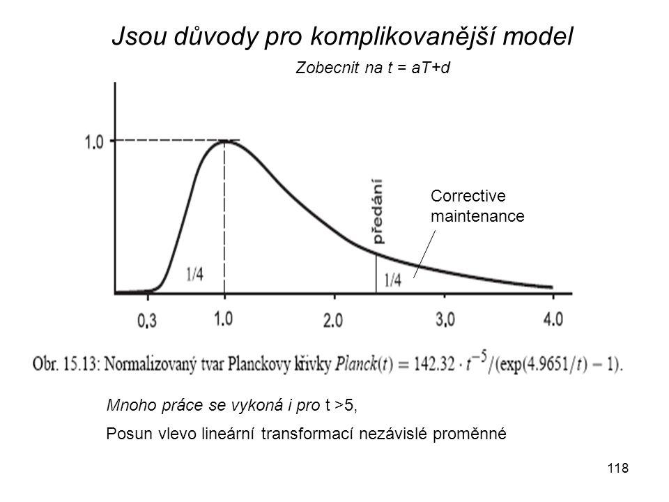 118 Corrective maintenance Zobecnit na t = aT+d Jsou důvody pro komplikovanější model Mnoho práce se vykoná i pro t >5, Posun vlevo lineární transformací nezávislé proměnné
