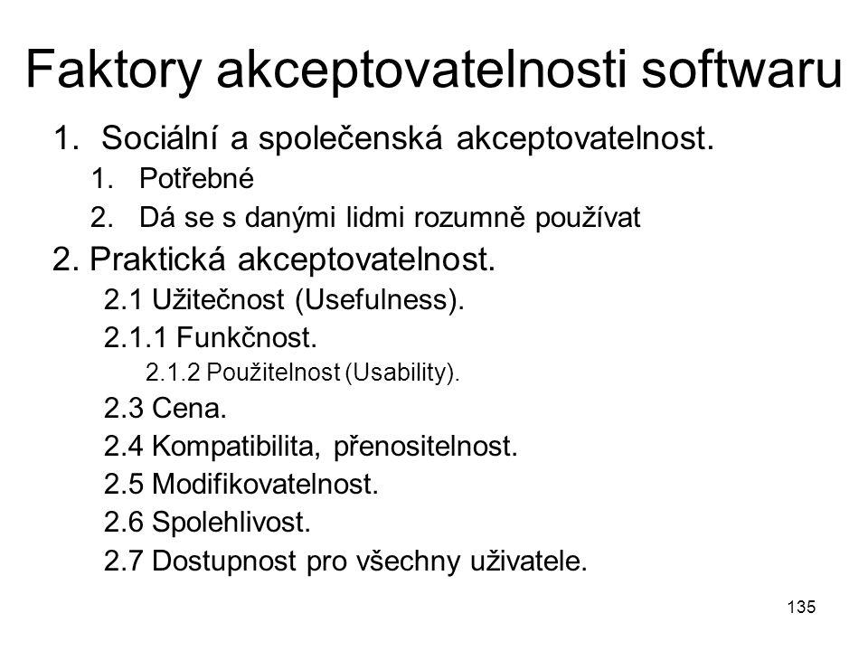 135 Faktory akceptovatelnosti softwaru 1.Sociální a společenská akceptovatelnost.