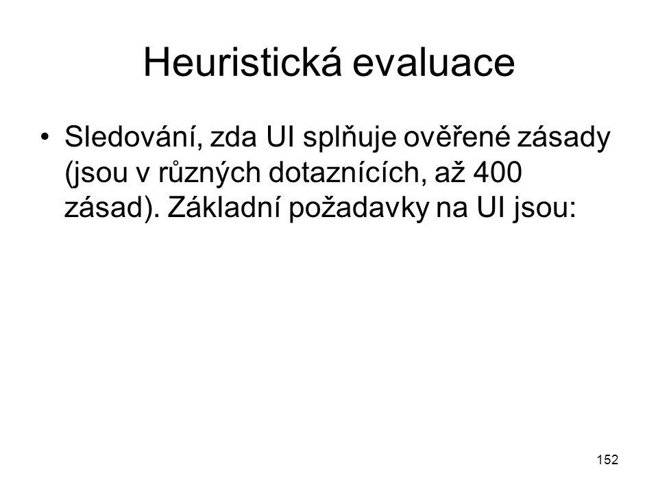 152 Heuristická evaluace Sledování, zda UI splňuje ověřené zásady (jsou v různých dotaznících, až 400 zásad).