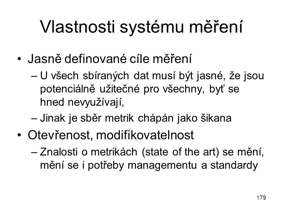 179 Vlastnosti systému měření Jasně definované cíle měření –U všech sbíraných dat musí být jasné, že jsou potenciálně užitečné pro všechny, byť se hned nevyužívají, –Jinak je sběr metrik chápán jako šikana Otevřenost, modifikovatelnost –Znalosti o metrikách (state of the art) se mění, mění se i potřeby managementu a standardy