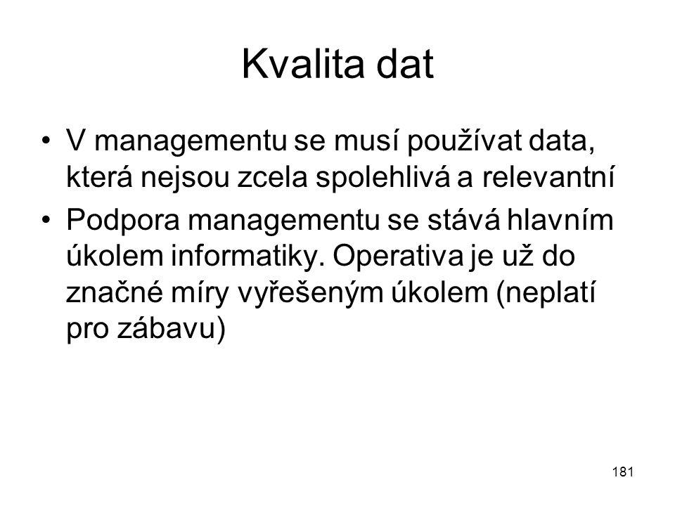 181 Kvalita dat V managementu se musí používat data, která nejsou zcela spolehlivá a relevantní Podpora managementu se stává hlavním úkolem informatiky.