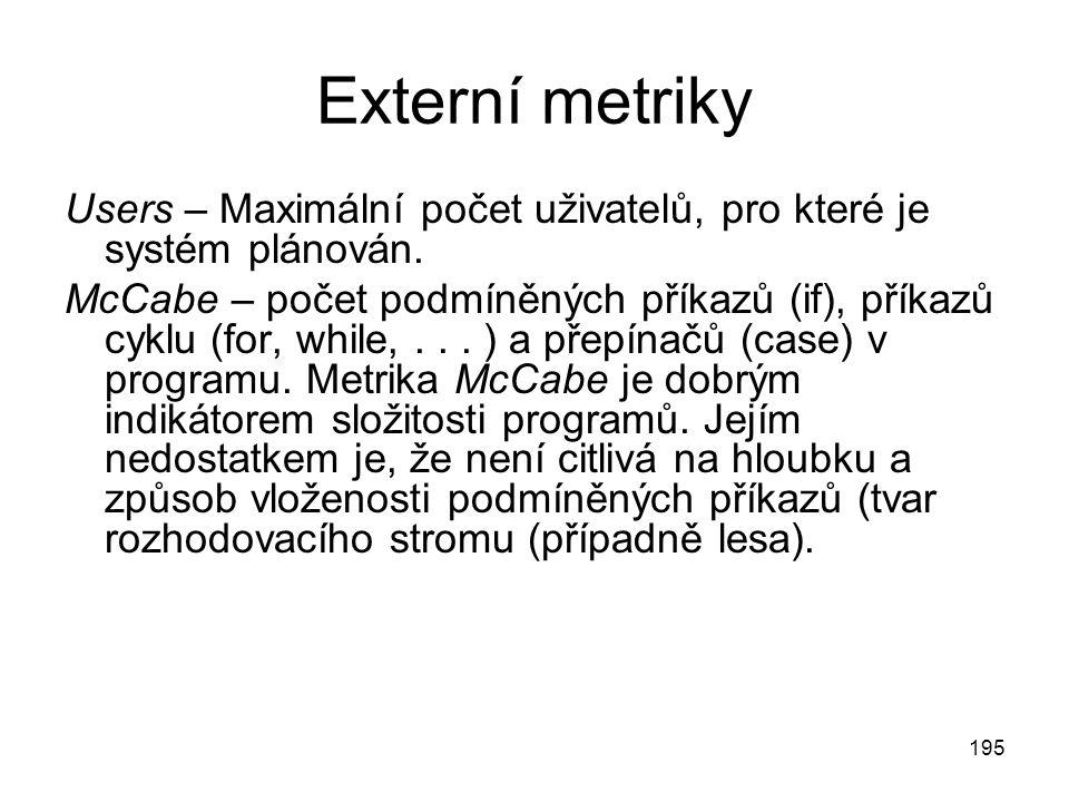 195 Externí metriky Users – Maximální počet uživatelů, pro které je systém plánován.
