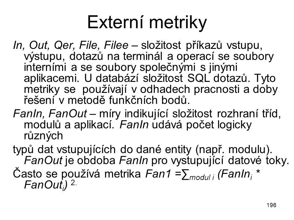 196 Externí metriky In, Out, Qer, File, Filee – složitost příkazů vstupu, výstupu, dotazů na terminál a operací se soubory interními a se soubory společnými s jinými aplikacemi.