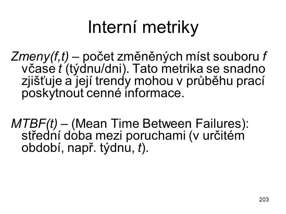 203 Interní metriky Zmeny(f,t) – počet změněných míst souboru f včase t (týdnu/dni).
