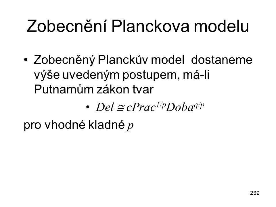 239 Zobecnění Planckova modelu Zobecněný Planckův model dostaneme výše uvedeným postupem, má-li Putnamům zákon tvar Del  cPrac 1/p Doba q/p pro vhodné kladné p