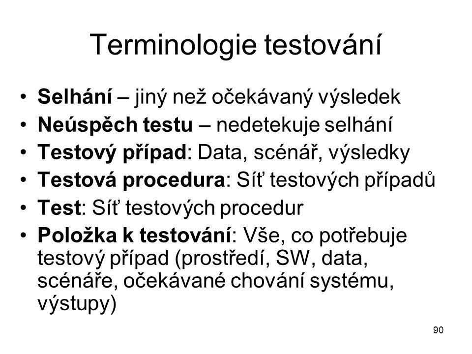 90 Terminologie testování Selhání – jiný než očekávaný výsledek Neúspěch testu – nedetekuje selhání Testový případ: Data, scénář, výsledky Testová procedura: Síť testových případů Test: Síť testových procedur Položka k testování: Vše, co potřebuje testový případ (prostředí, SW, data, scénáře, očekávané chování systému, výstupy)