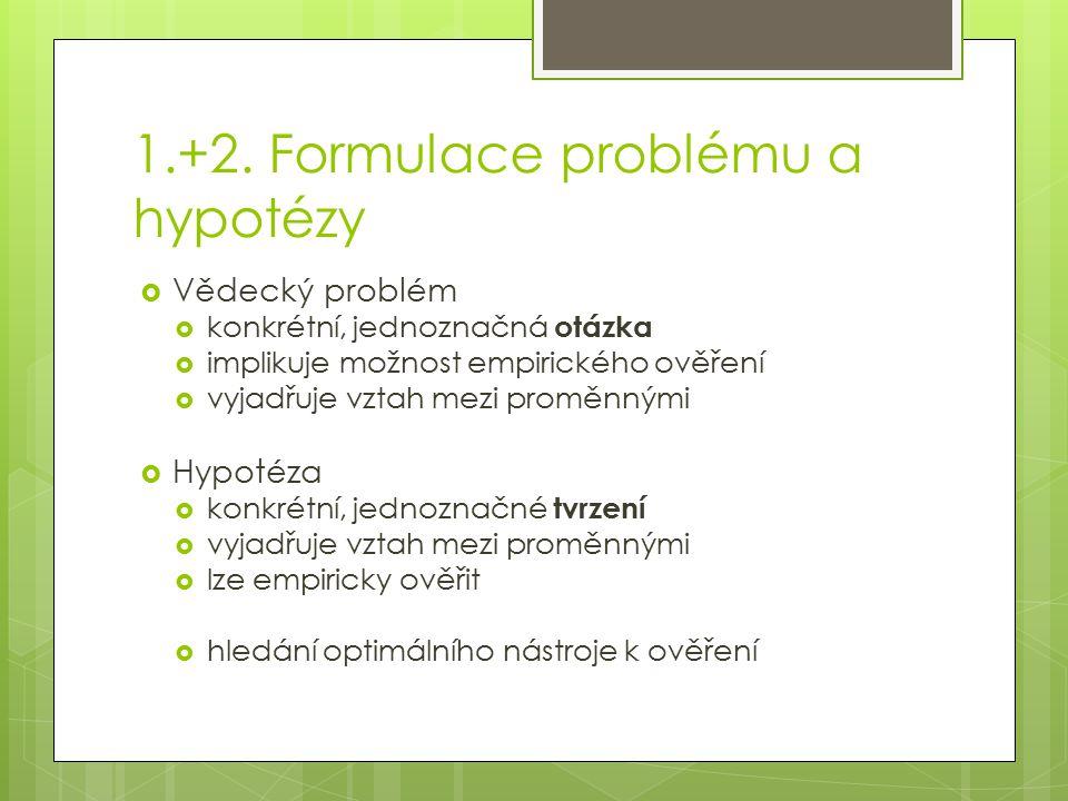 1.+2. Formulace problému a hypotézy  Vědecký problém  konkrétní, jednoznačná otázka  implikuje možnost empirického ověření  vyjadřuje vztah mezi p