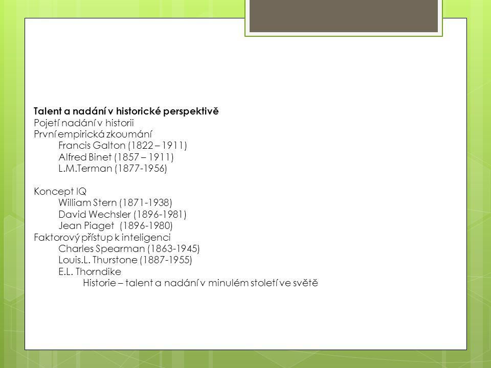 Talent a nadání v historické perspektivě Pojetí nadání v historii První empirická zkoumání Francis Galton (1822 – 1911) Alfred Binet (1857 – 1911) L.M