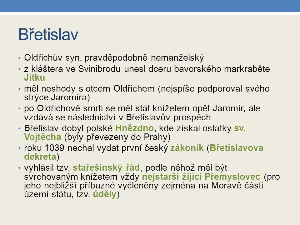 Zápis do sešitu Břetislav z kláštera unesl dceru bavorského markraběte Jitku dobyl polské Hnězdno, kde získal ostatky sv.