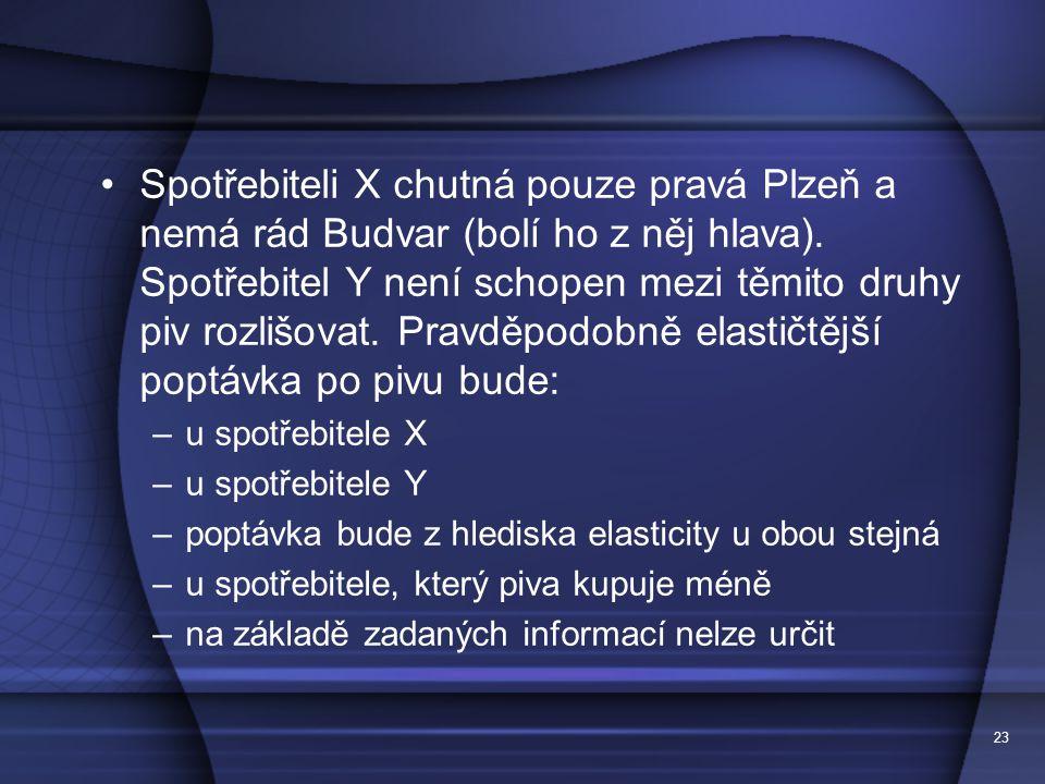23 Spotřebiteli X chutná pouze pravá Plzeň a nemá rád Budvar (bolí ho z něj hlava). Spotřebitel Y není schopen mezi těmito druhy piv rozlišovat. Pravd