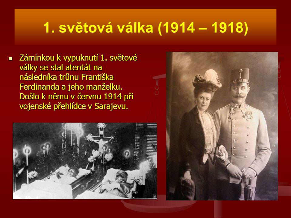 1. světová válka (1914 – 1918) Záminkou k vypuknutí 1. světové války se stal atentát na následníka trůnu Františka Ferdinanda a jeho manželku. Došlo k