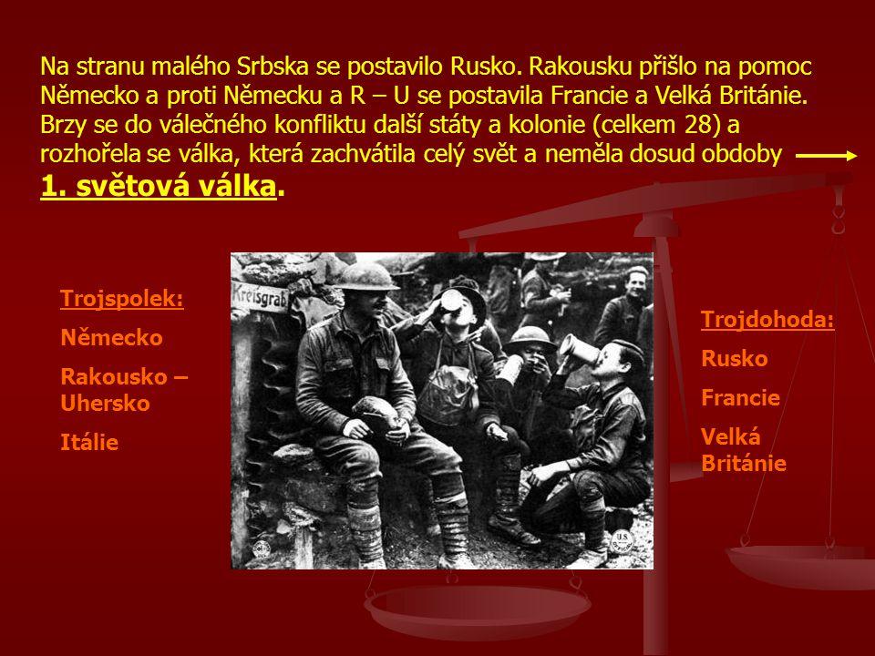 Na stranu malého Srbska se postavilo Rusko. Rakousku přišlo na pomoc Německo a proti Německu a R – U se postavila Francie a Velká Británie. Brzy se do