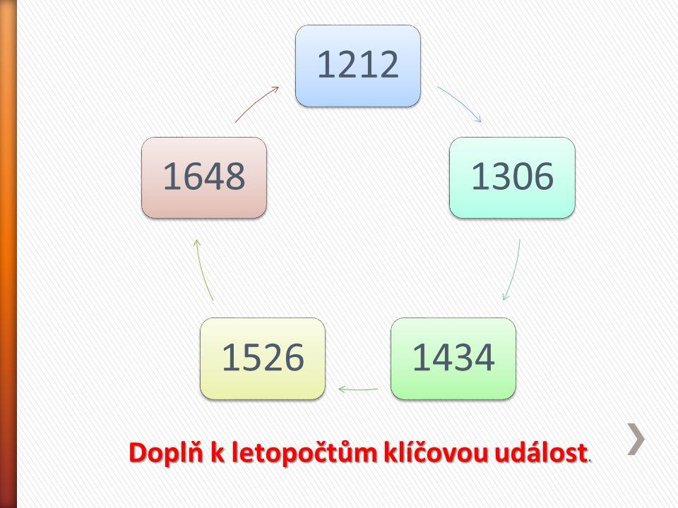 12121306143415261648 Doplň k letopočtům klíčovou událost.