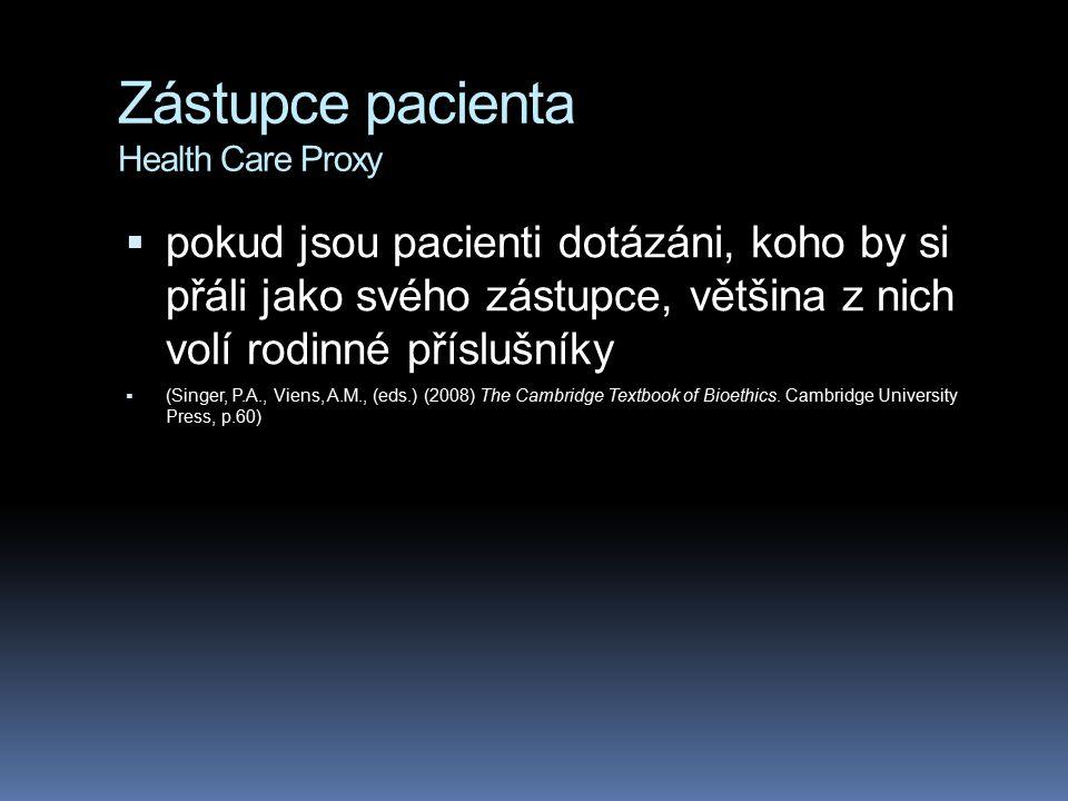 Zástupce pacienta Health Care Proxy  pokud jsou pacienti dotázáni, koho by si přáli jako svého zástupce, většina z nich volí rodinné příslušníky  (S