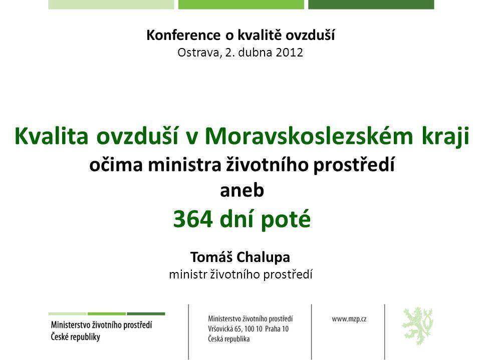 Kvalita ovzduší v Moravskoslezském kraji očima ministra životního prostředí aneb 364 dní poté Tomáš Chalupa ministr životního prostředí Konference o kvalitě ovzduší Ostrava, 2.
