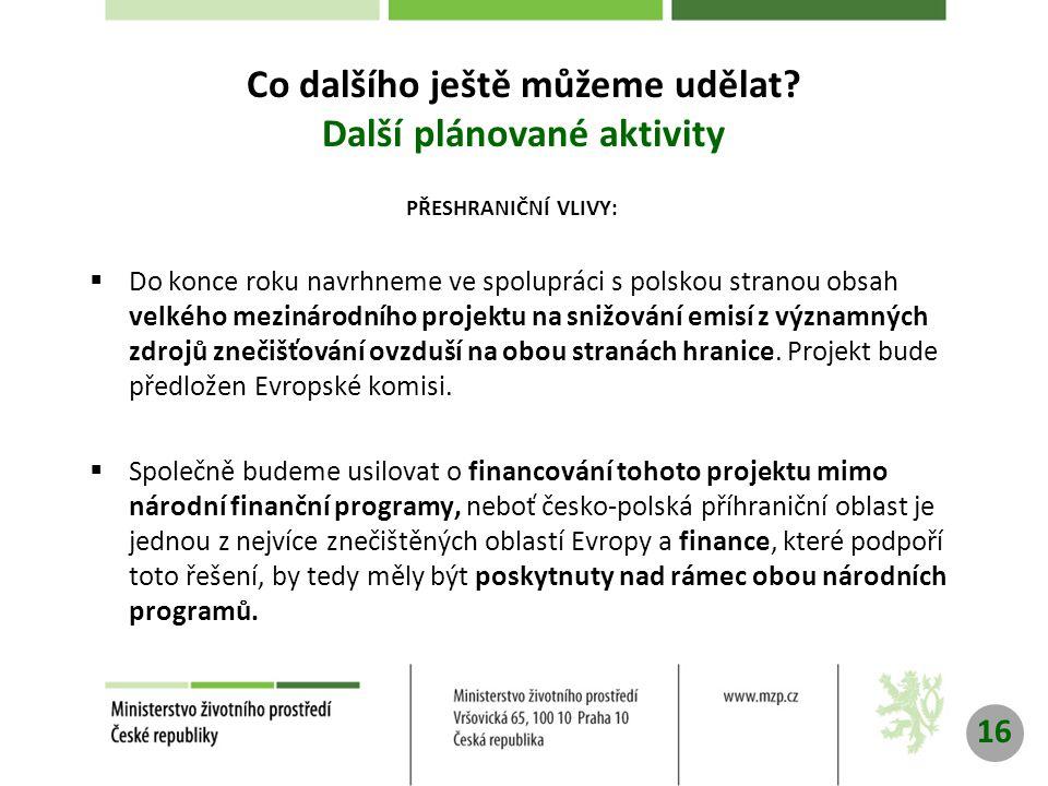 PŘESHRANIČNÍ VLIVY:  Do konce roku navrhneme ve spolupráci s polskou stranou obsah velkého mezinárodního projektu na snižování emisí z významných zdrojů znečišťování ovzduší na obou stranách hranice.