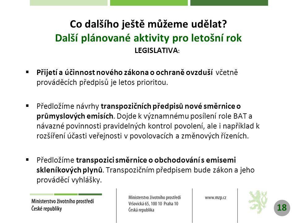 LEGISLATIVA :  Přijetí a účinnost nového zákona o ochraně ovzduší včetně prováděcích předpisů je letos prioritou.