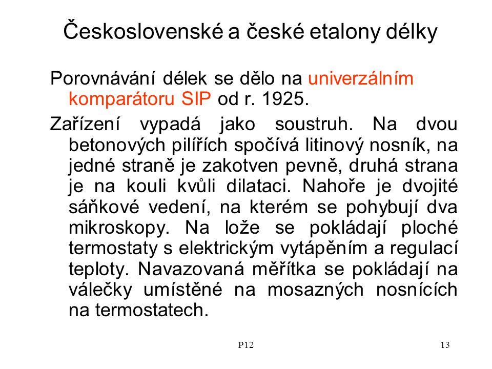 P1213 Československé a české etalony délky Porovnávání délek se dělo na univerzálním komparátoru SIP od r.