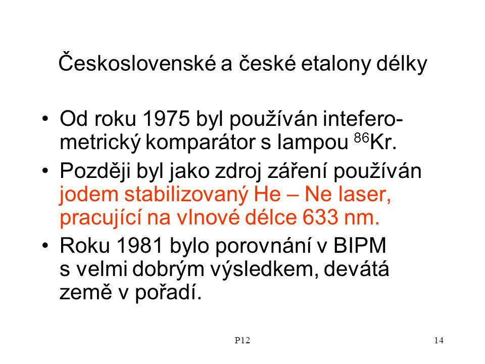 P1214 Československé a české etalony délky Od roku 1975 byl používán intefero- metrický komparátor s lampou 86 Kr.