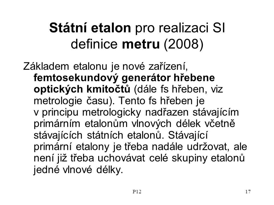 P1217 Státní etalon pro realizaci SI definice metru (2008) Základem etalonu je nové zařízení, femtosekundový generátor hřebene optických kmitočtů (dále fs hřeben, viz metrologie času).