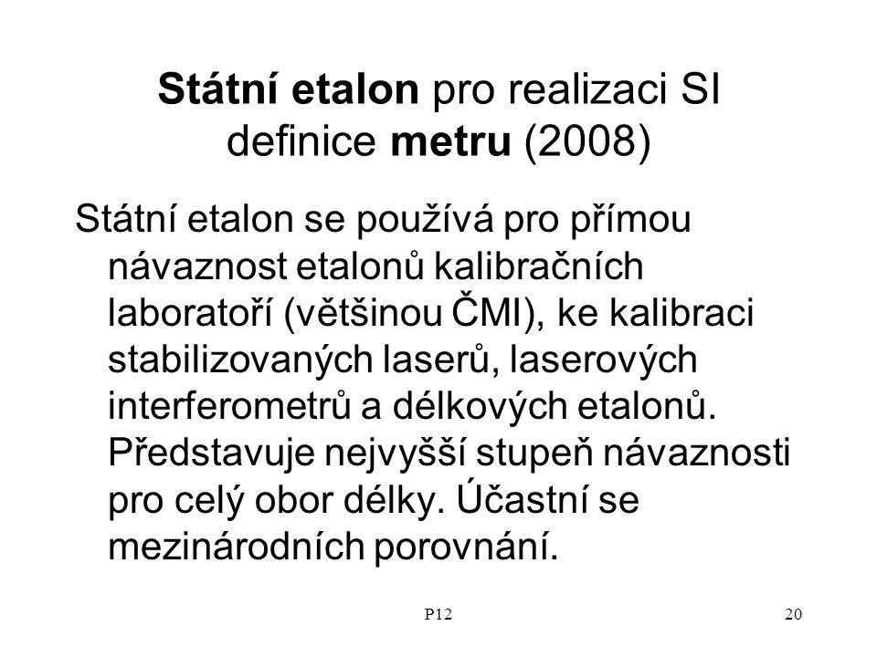 P1220 Státní etalon pro realizaci SI definice metru (2008) Státní etalon se používá pro přímou návaznost etalonů kalibračních laboratoří (většinou ČMI), ke kalibraci stabilizovaných laserů, laserových interferometrů a délkových etalonů.