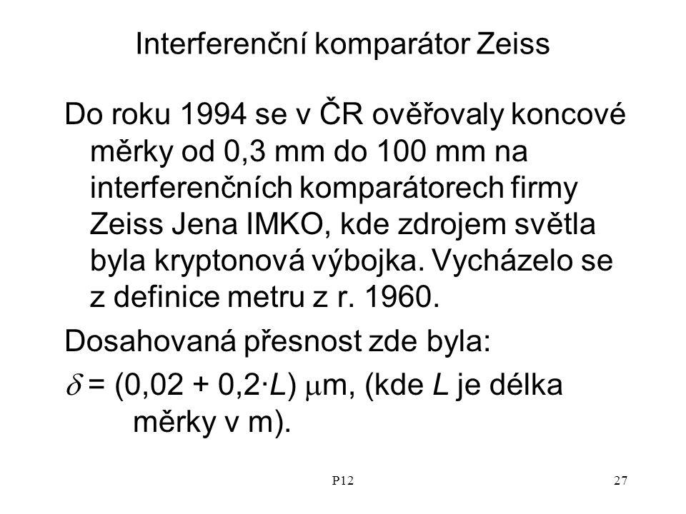 P1227 Interferenční komparátor Zeiss Do roku 1994 se v ČR ověřovaly koncové měrky od 0,3 mm do 100 mm na interferenčních komparátorech firmy Zeiss Jena IMKO, kde zdrojem světla byla kryptonová výbojka.