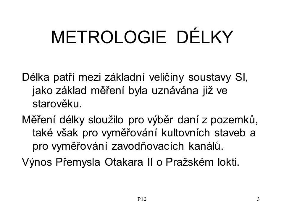 P123 METROLOGIE DÉLKY Délka patří mezi základní veličiny soustavy SI, jako základ měření byla uznávána již ve starověku.