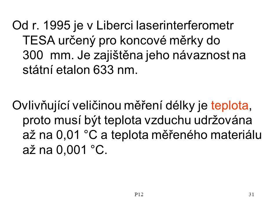 P1231 Od r.1995 je v Liberci laserinterferometr TESA určený pro koncové měrky do 300 mm.