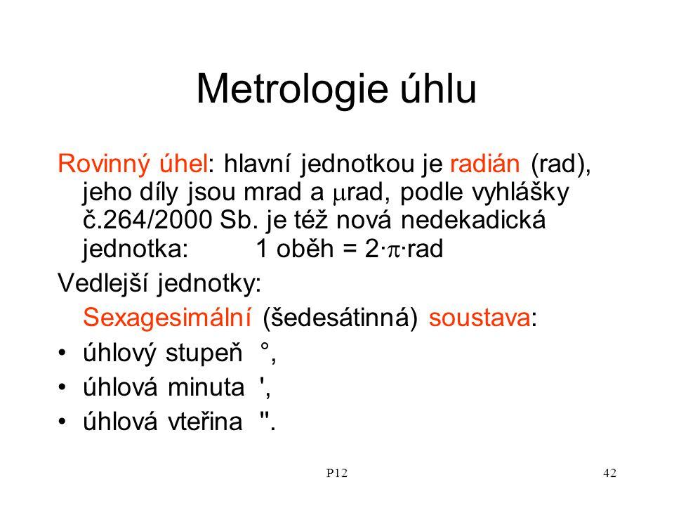 P1242 Metrologie úhlu Rovinný úhel: hlavní jednotkou je radián (rad), jeho díly jsou mrad a  rad, podle vyhlášky č.264/2000 Sb.