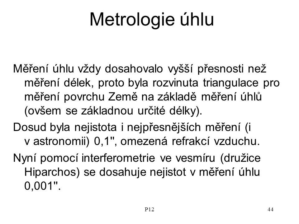 P1244 Metrologie úhlu Měření úhlu vždy dosahovalo vyšší přesnosti než měření délek, proto byla rozvinuta triangulace pro měření povrchu Země na základě měření úhlů (ovšem se základnou určité délky).