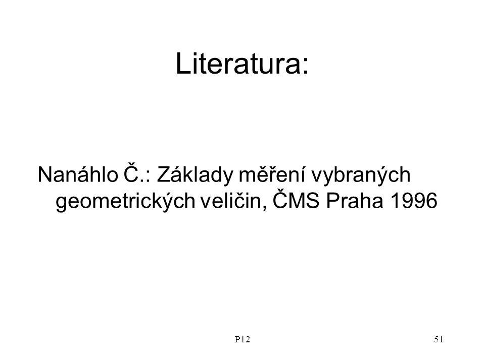 P1251 Literatura: Nanáhlo Č.: Základy měření vybraných geometrických veličin, ČMS Praha 1996