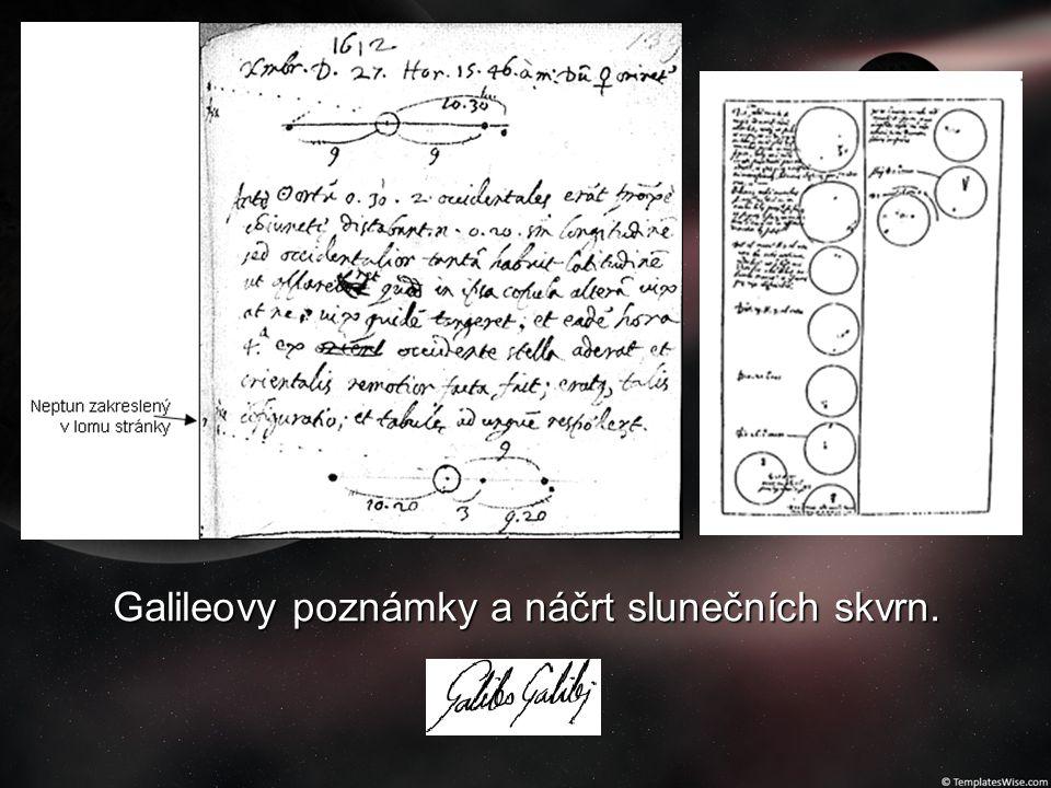 Galileovy poznámky a náčrt slunečních skvrn.