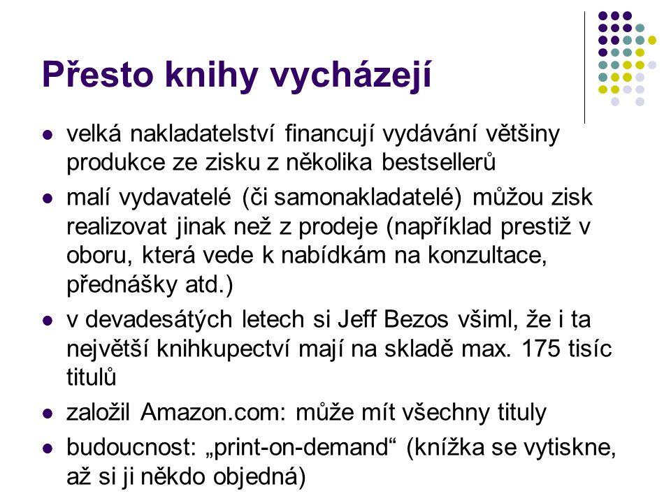 Přesto knihy vycházejí velká nakladatelství financují vydávání většiny produkce ze zisku z několika bestsellerů malí vydavatelé (či samonakladatelé) můžou zisk realizovat jinak než z prodeje (například prestiž v oboru, která vede k nabídkám na konzultace, přednášky atd.) v devadesátých letech si Jeff Bezos všiml, že i ta největší knihkupectví mají na skladě max.