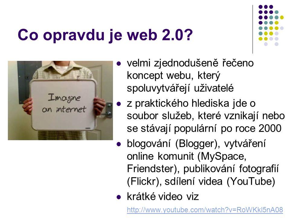 """Diskuse o webu 2.0 o webu 2.0 se vášnivě diskutuje od momentu, kdy O´Reilly s tímto termínem přišel pořádají se konference, zavádí se nová terminologie, o webu 2.0 už se učí na některých univerzitách část odborné veřejnosti odmítá web 2.0 jako """"marketingový humbuk pro širokou veřejnost zpopularizovaly web 2.0 dvě události: koupě serveru YouTube.com firmou Google za 1,65 miliardy dolarů (září 2006) a obálka časopisu Time (prosinec 2006)"""