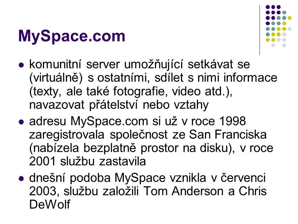 MySpace.com komunitní server umožňující setkávat se (virtuálně) s ostatními, sdílet s nimi informace (texty, ale také fotografie, video atd.), navazovat přátelství nebo vztahy adresu MySpace.com si už v roce 1998 zaregistrovala společnost ze San Franciska (nabízela bezplatně prostor na disku), v roce 2001 službu zastavila dnešní podoba MySpace vznikla v červenci 2003, službu založili Tom Anderson a Chris DeWolf