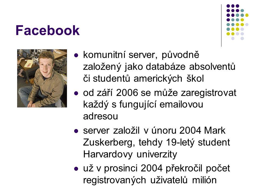 Facebook komunitní server, původně založený jako databáze absolventů či studentů amerických škol od září 2006 se může zaregistrovat každý s fungující emailovou adresou server založil v únoru 2004 Mark Zuskerberg, tehdy 19-letý student Harvardovy univerzity už v prosinci 2004 překročil počet registrovaných uživatelů milión