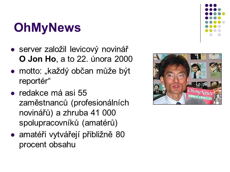 OhMyNews server založil levicový novinář O Jon Ho, a to 22.