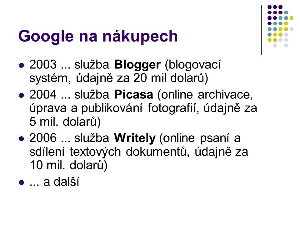 Google na nákupech 2003...služba Blogger (blogovací systém, údajně za 20 mil dolarů) 2004...