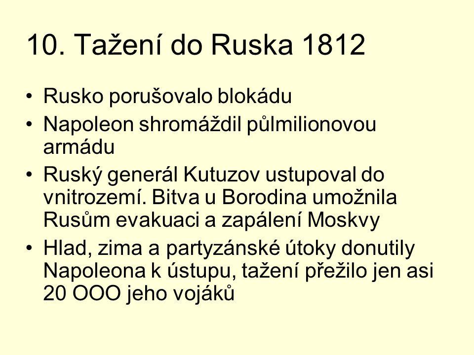 10. Tažení do Ruska 1812 Rusko porušovalo blokádu Napoleon shromáždil půlmilionovou armádu Ruský generál Kutuzov ustupoval do vnitrozemí. Bitva u Boro