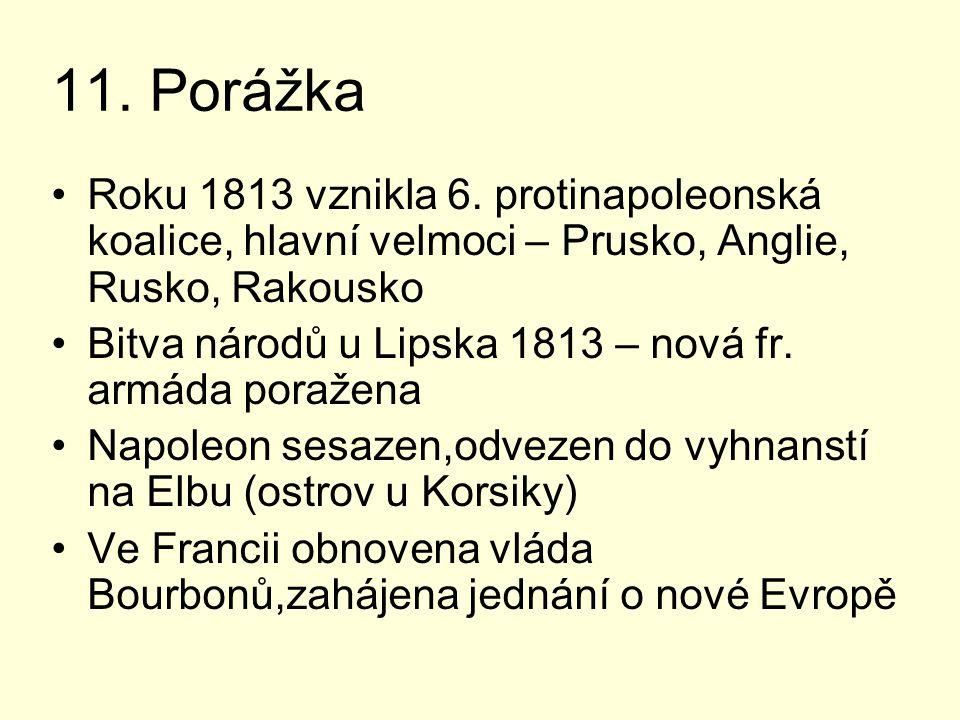 11. Porážka Roku 1813 vznikla 6. protinapoleonská koalice, hlavní velmoci – Prusko, Anglie, Rusko, Rakousko Bitva národů u Lipska 1813 – nová fr. armá