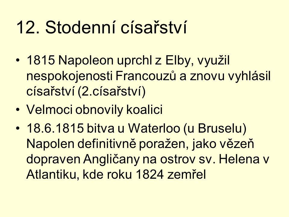12. Stodenní císařství 1815 Napoleon uprchl z Elby, využil nespokojenosti Francouzů a znovu vyhlásil císařství (2.císařství) Velmoci obnovily koalici