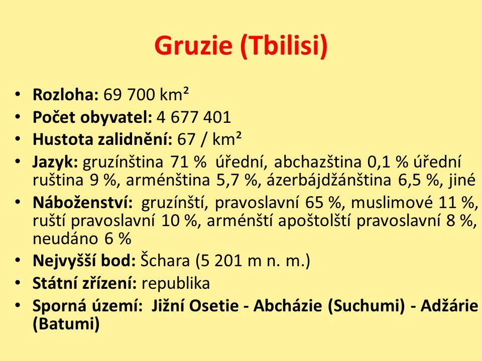 Gruzie (Tbilisi) Rozloha: 69 700 km² Počet obyvatel: 4 677 401 Hustota zalidnění: 67 / km² Jazyk: gruzínština 71 % úřední, abchazština 0,1 % úřední ru