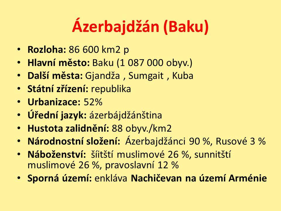 Ázerbajdžán (Baku) Rozloha: 86 600 km2 p Hlavní město: Baku (1 087 000 obyv.) Další města: Gjandža, Sumgait, Kuba Státní zřízení: republika Urbanizace