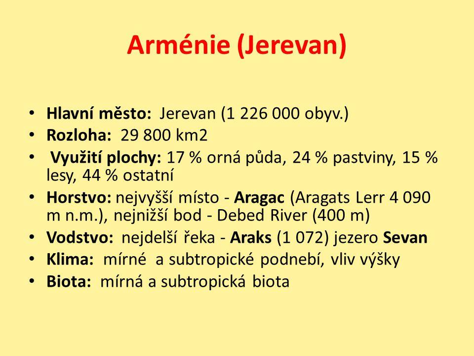 Arménie (Jerevan) Hlavní město: Jerevan (1 226 000 obyv.) Rozloha: 29 800 km2 Využití plochy: 17 % orná půda, 24 % pastviny, 15 % lesy, 44 % ostatní H