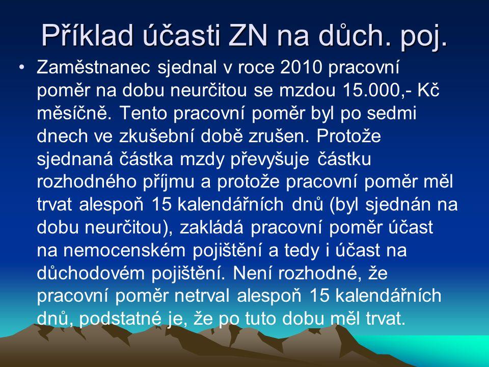 Příklad účasti ZN na důch.poj.