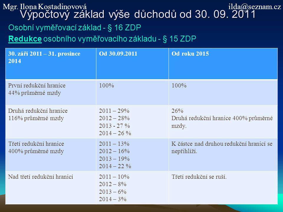 Výpočtový základ výše důchodů od 30.09.