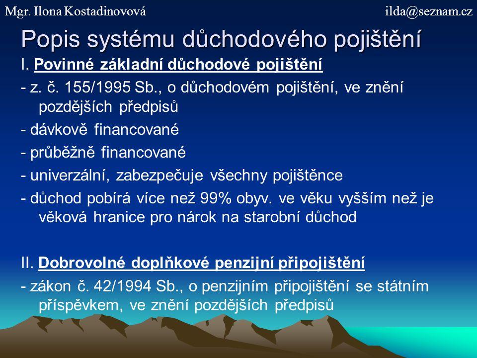 Popis systému důchodového pojištění I.Povinné základní důchodové pojištění - z.