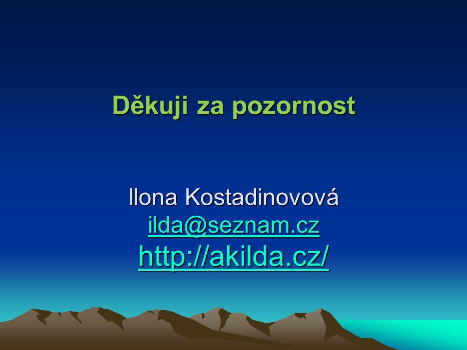 Děkuji za pozornost Ilona Kostadinovová ilda@seznam.cz http://akilda.cz/ ilda@seznam.cz http://akilda.cz/ ilda@seznam.cz http://akilda.cz/