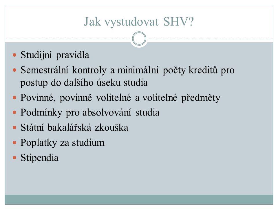 Jak vystudovat SHV? Studijní pravidla Semestrální kontroly a minimální počty kreditů pro postup do dalšího úseku studia Povinné, povinně volitelné a v