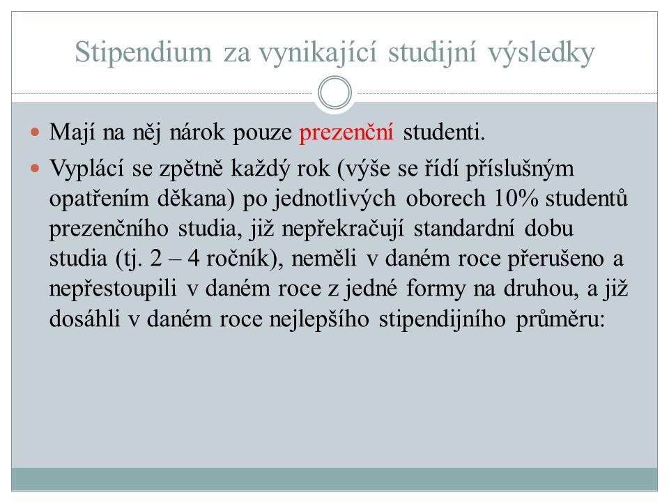 Stipendium za vynikající studijní výsledky Mají na něj nárok pouze prezenční studenti. Vyplácí se zpětně každý rok (výše se řídí příslušným opatřením